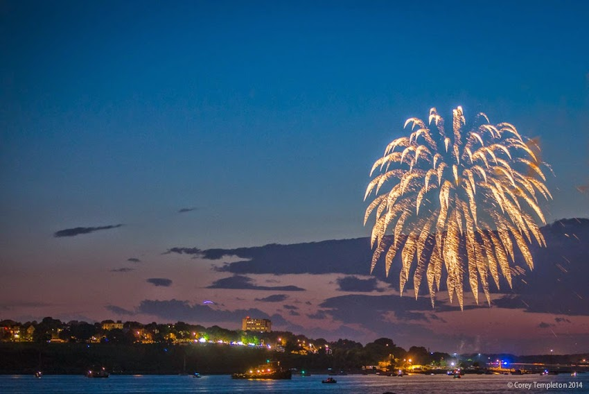 Portland, Maine Summer July 2014 Fourth of July Fireworks Independence Day from Fort Gorges in Portland Harbor photo by Corey Templeton
