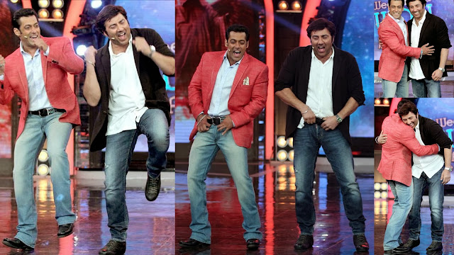Salman and Sunny Deol giving their popular dance steps at Bigg Boss stage