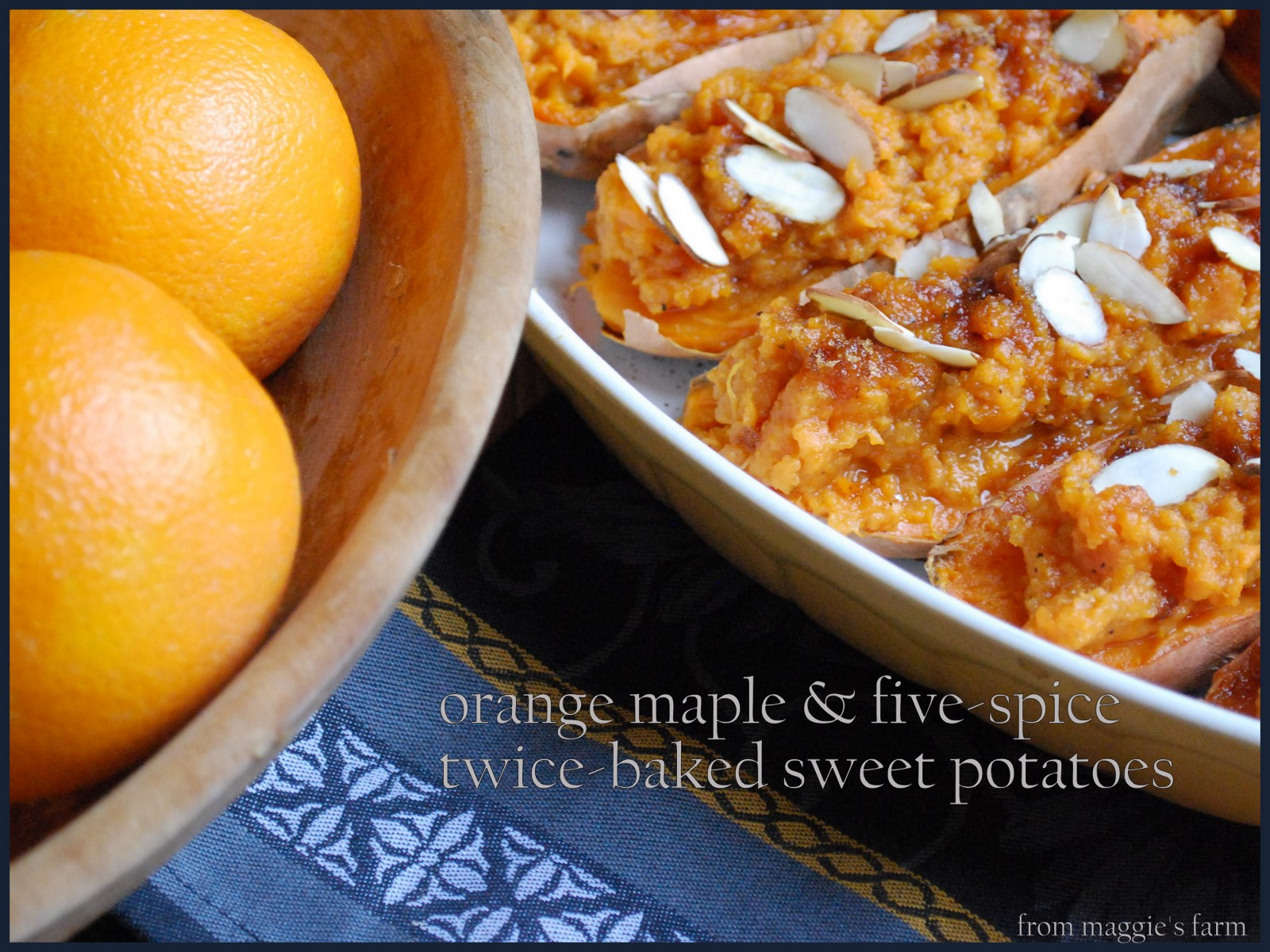 ... from Maggie's Farm: orange maple five-spice twice-baked sweet potatoes