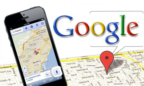 "Google Maps displayed on a smartphone over a physical map and digitized pin.  The pin is saying, ""Google"" in a speech bubble."