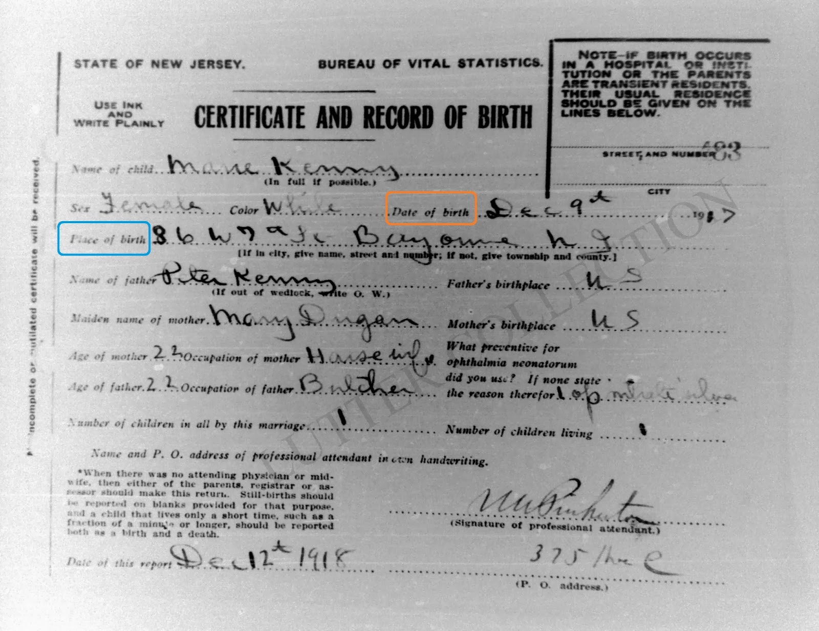 Family history research by jody birth corrections birth certificate for marie kenny born december 9 1917 at 86 w 7th st bayonne hudson county new jersey aiddatafo Choice Image