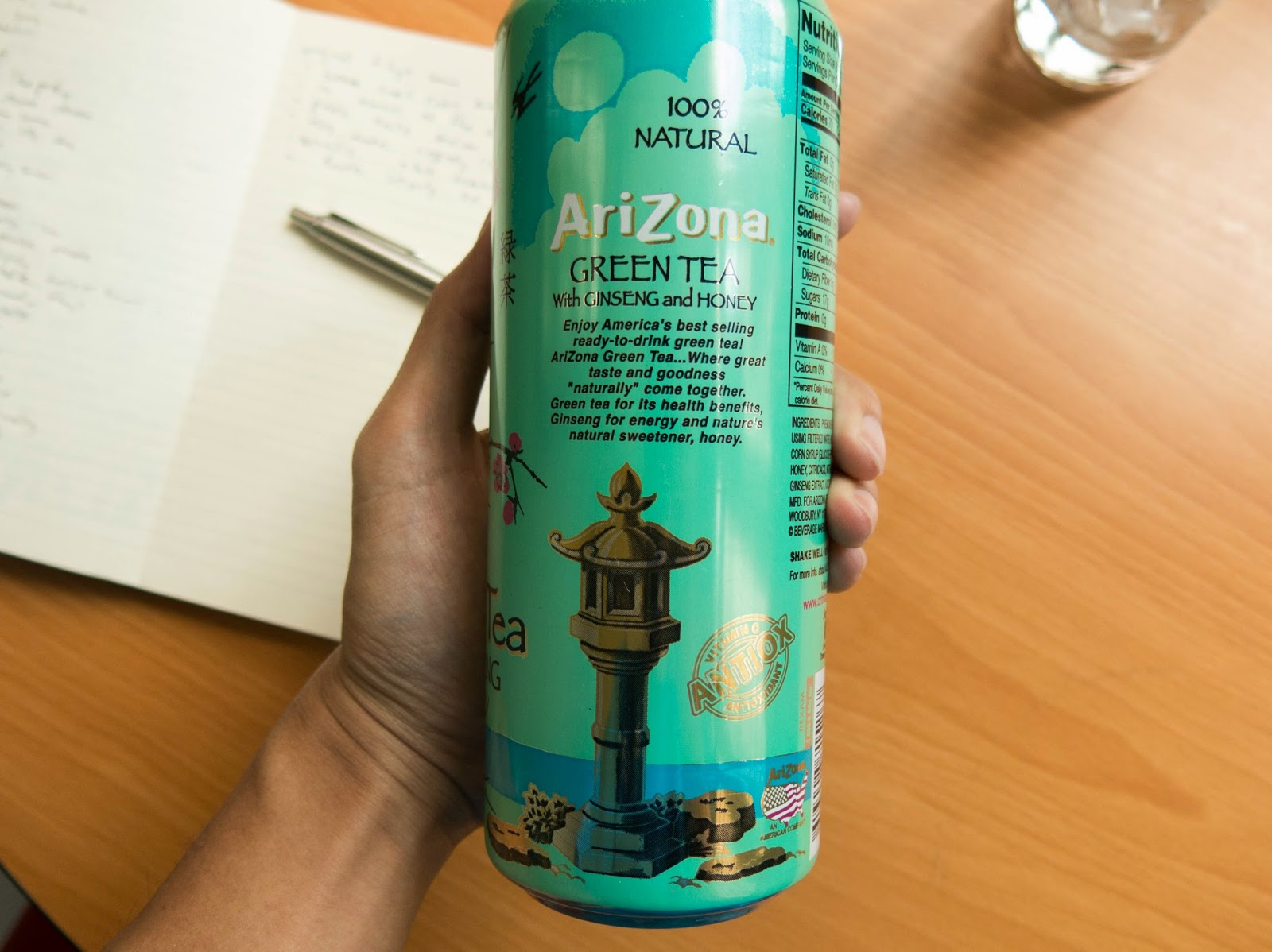 side view of arizona tea with ginseng and honey