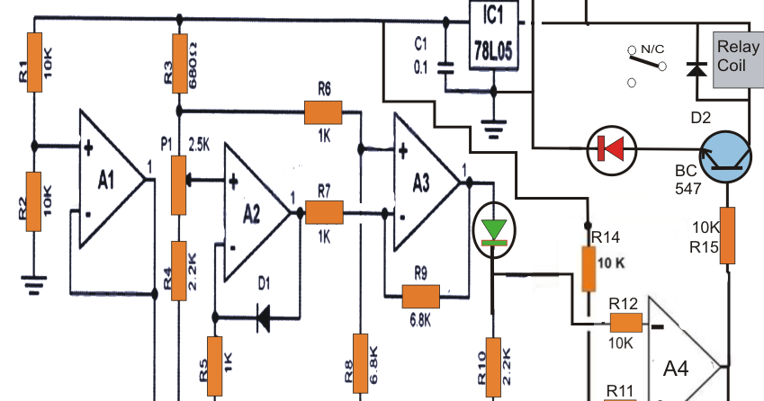 Accurate Fridge Thermostat Circuit Using A Single Ic Lm324