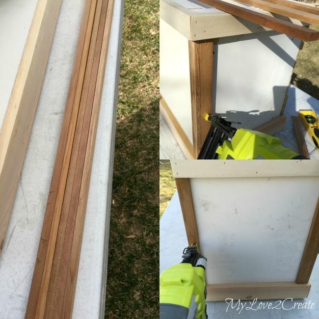 Step 2 in transforming laminate furniture, add trim to exposed edges