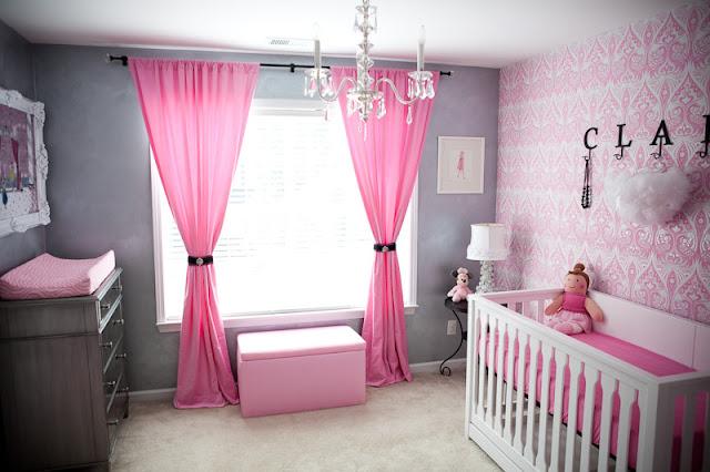 Image chambre bébé fille rose