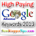 Top 70 High Paying Google Adsense Keywords 2013