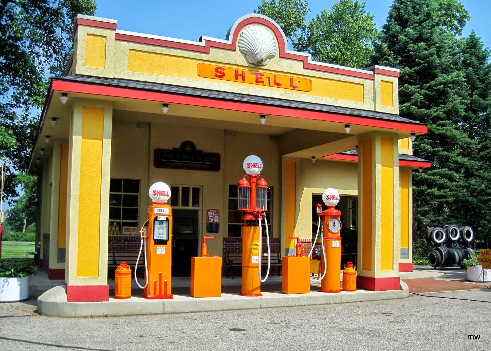 Old Time Gas Station With an Old-time Gas Pump