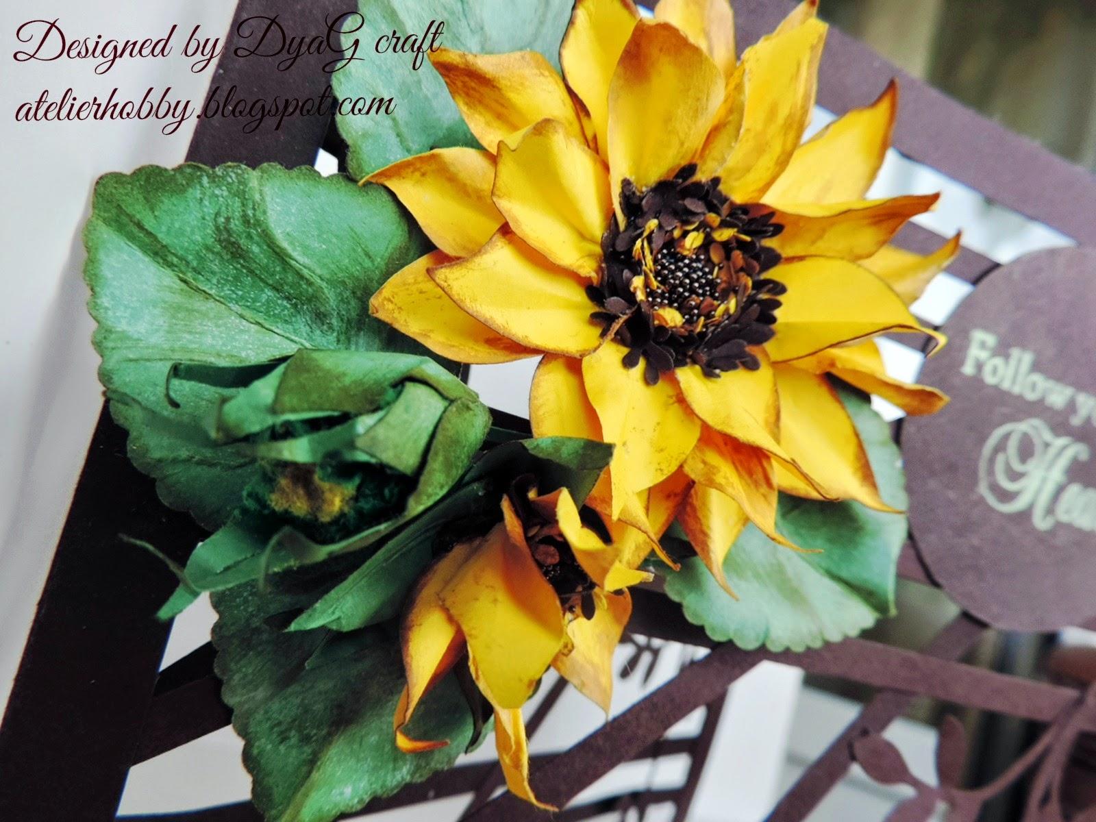 felicitare handmade floarea soarelui cu produse stampin up