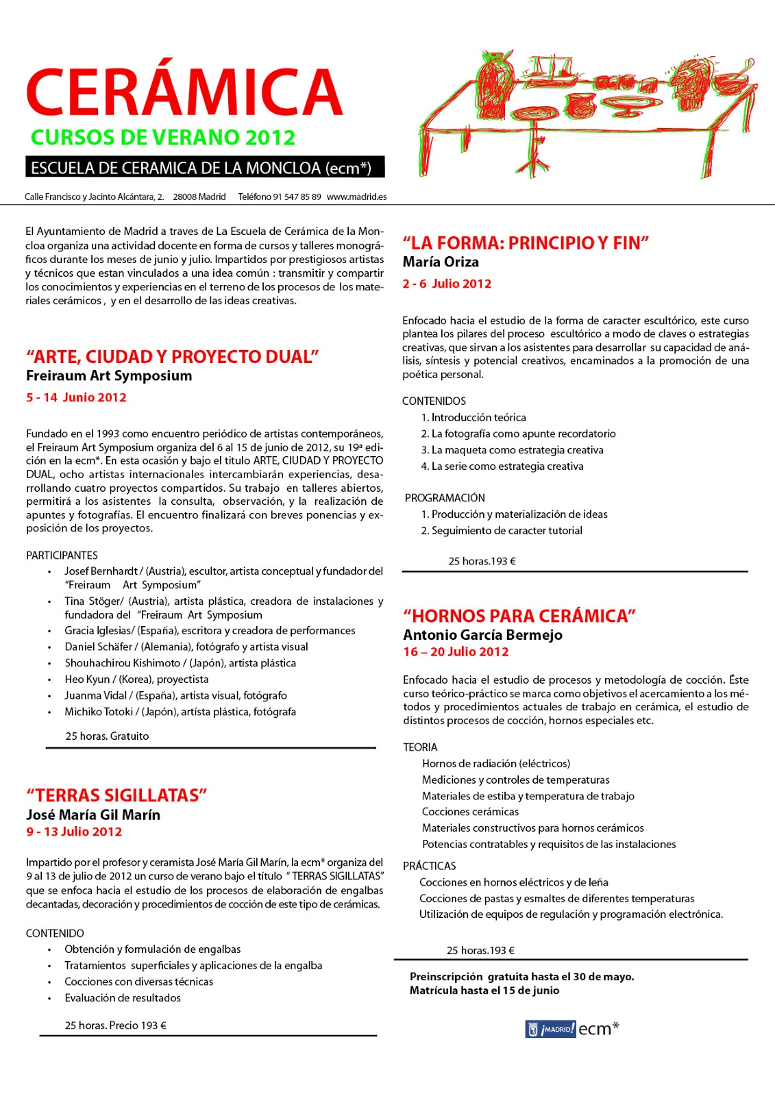 Escuela de cer mica de la moncloa madrid cursos en verano for Curso ceramica madrid