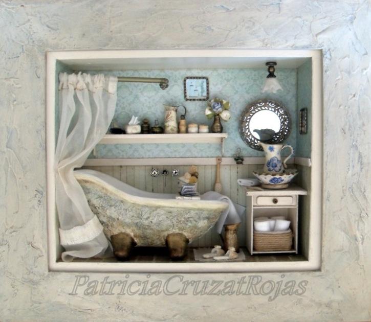 Patricia cruzat artesania y color ba o r stico con - Cuadros para banos pequenos ...