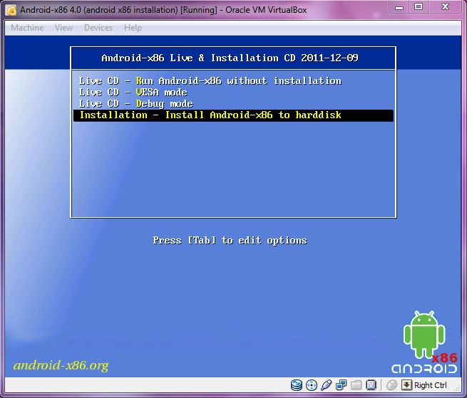 VirtualBox - Android-x86 grub menu