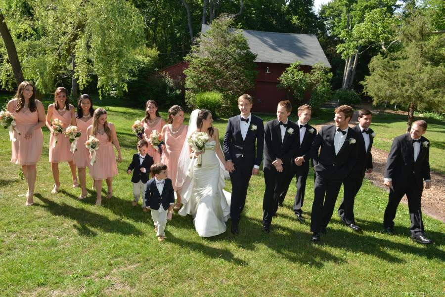 Bridal Party Walking - Grist Mill Stony Brook NY