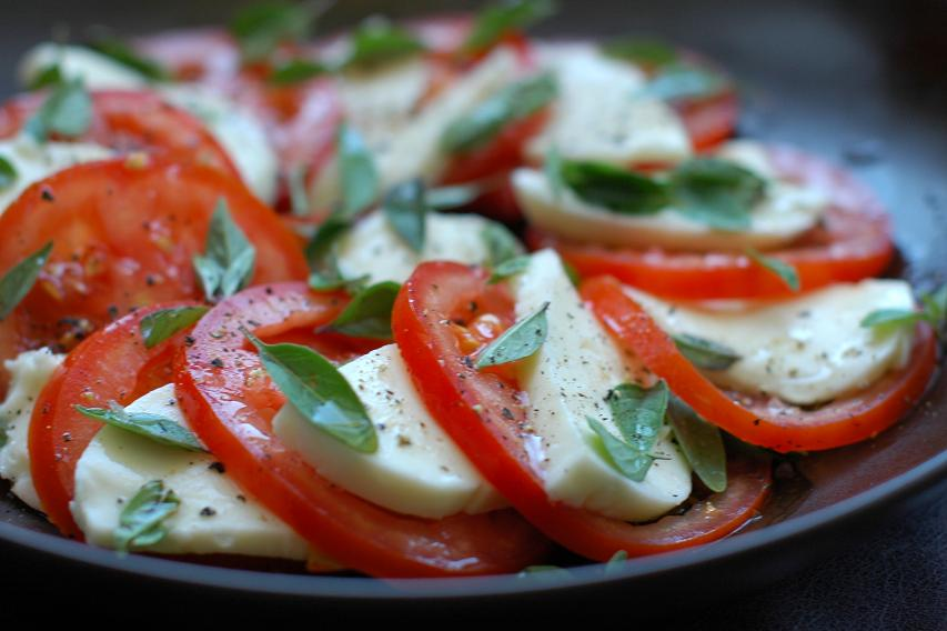 Tomato, Olive, And Fresh Mozzarella Salad With Basil Vinaigrette ...