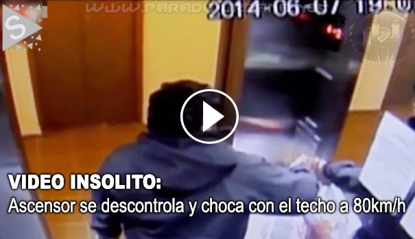 VIDEO INSÓLITO - Un ascensor sube a 80 km/h y se estrella contra el techo con una Persona dentro