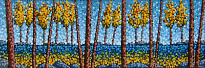 Autumn Lake Excursion, Acrylic landscape painting, aaron kloss artist, pointillism