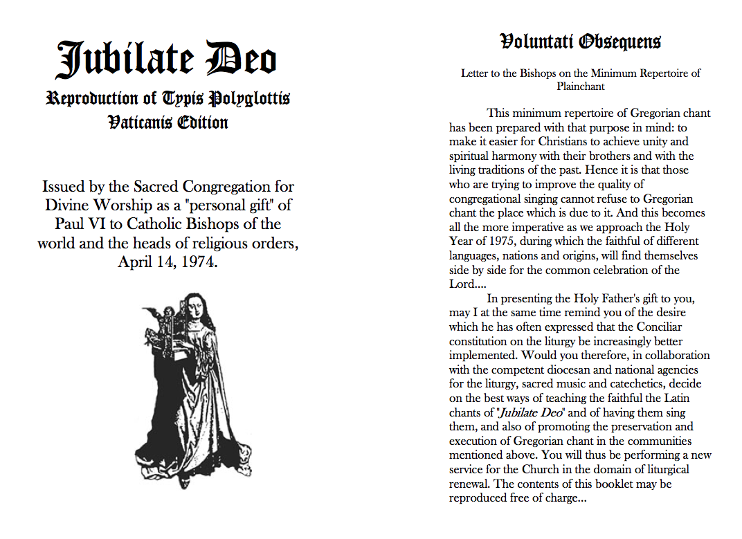 copy of cover and letter to bishops from Jubilate Deo