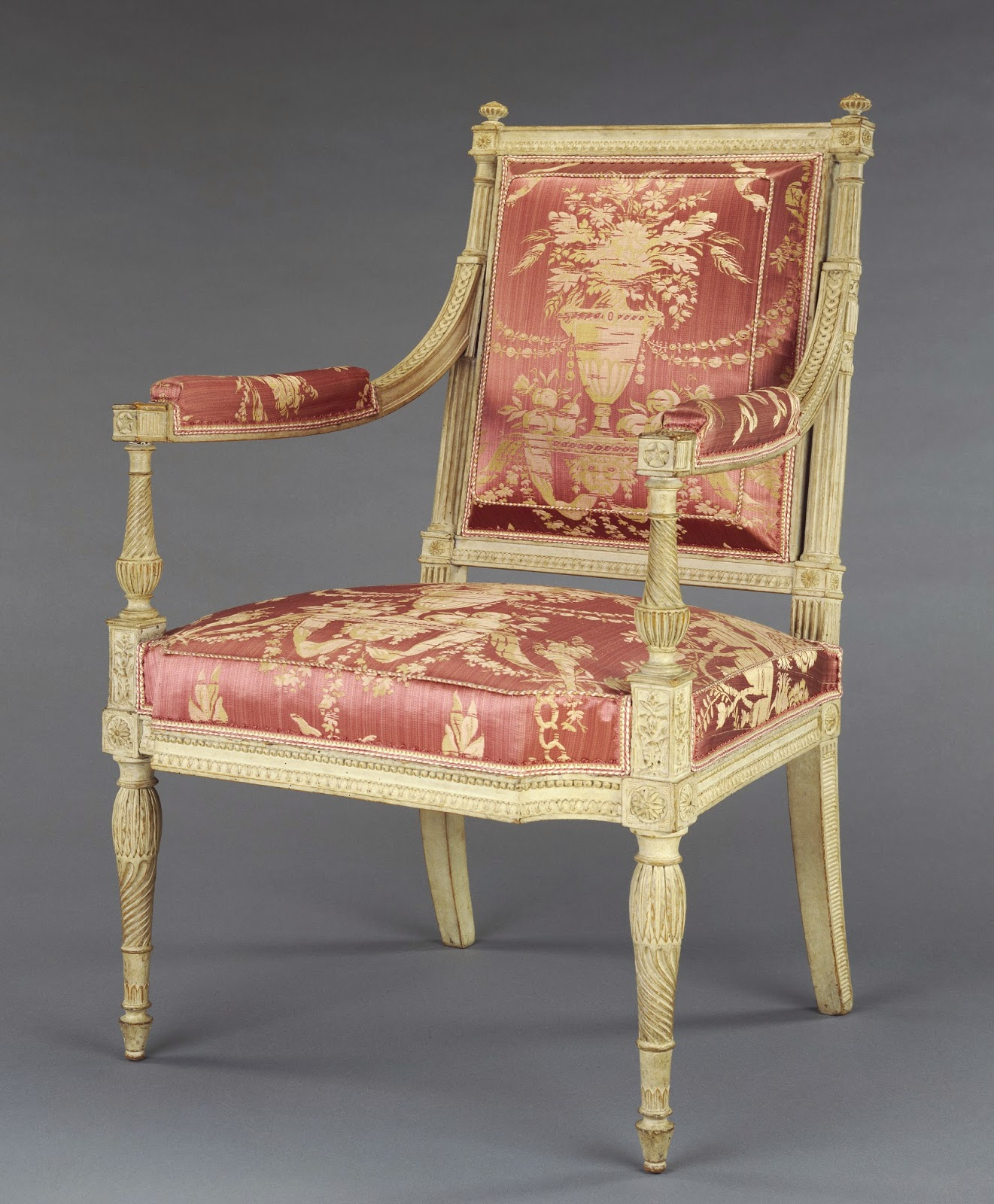 Georges Jacob One pair of Armchairs, about 1790 - 1792, Painted beechwood and modern silk upholstery