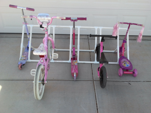 Make a bike and scooter organizer with PVC pipe :: OrganizingMadeFun.com