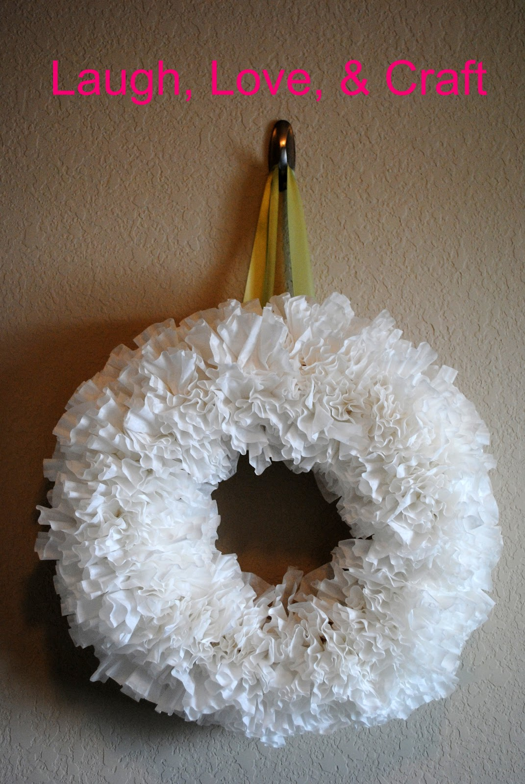 Laugh love and craft coffee filter wreath for Coffee crafts