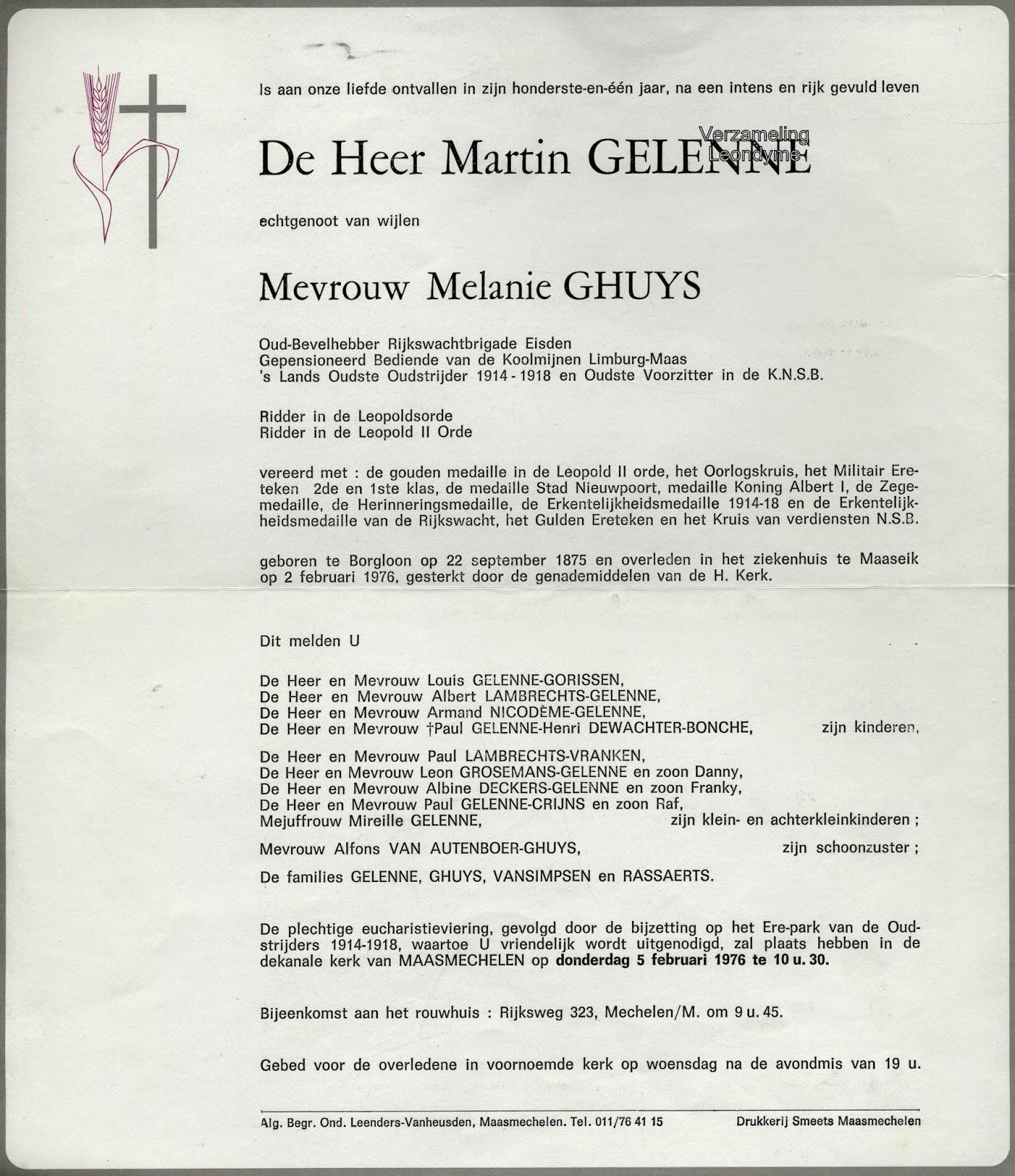 Rouwbrief Martin Gelenne 1875-1976. Verzameling Leondyme