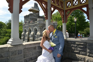 Bride and Groom kiss at Belvedere Castle Gazebo
