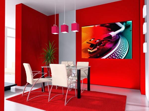 Comedores en color rojo y blanco colores en casa for Comedor negro con rojo