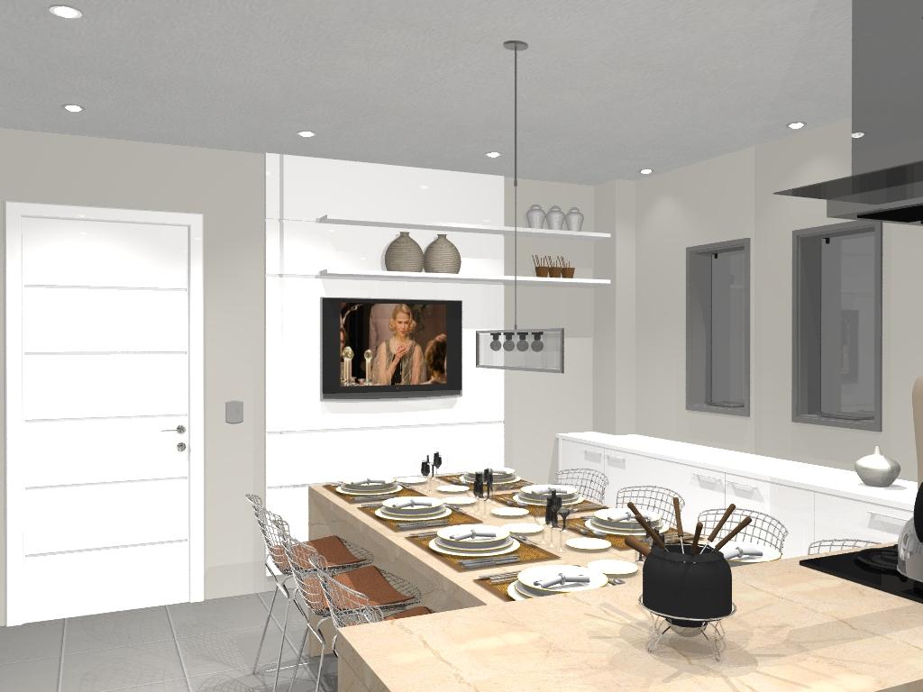 #926639  Borba Interiores: Imagens de Projetos e Renderizações em Promob 1024x768 px Projeto Cozinha Industrial Curitiba #2565 imagens