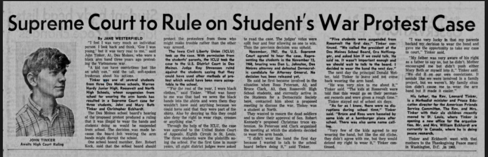 tinker v des moines ruling On december 16, mary beth tinker, a 13-year-old junior high student,  the oyez project at iit chicago-kent college of law, tinker v des moines (1969.