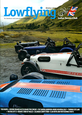 My picture of four Caterhams' at the western end of the Elan Valley , B4574, near Cwmystwyth on the front cover of Low Flying Magazine in October 2014.