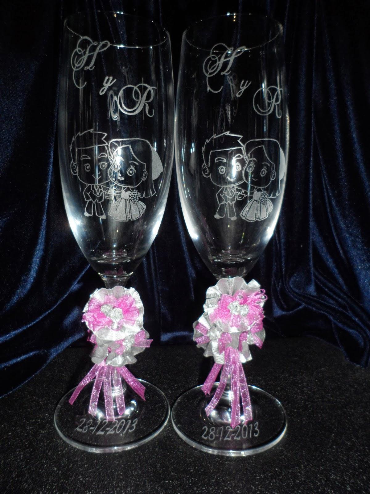 Copas grabadas a mano para bodas 15 a os aniversarios for Vasos y copas