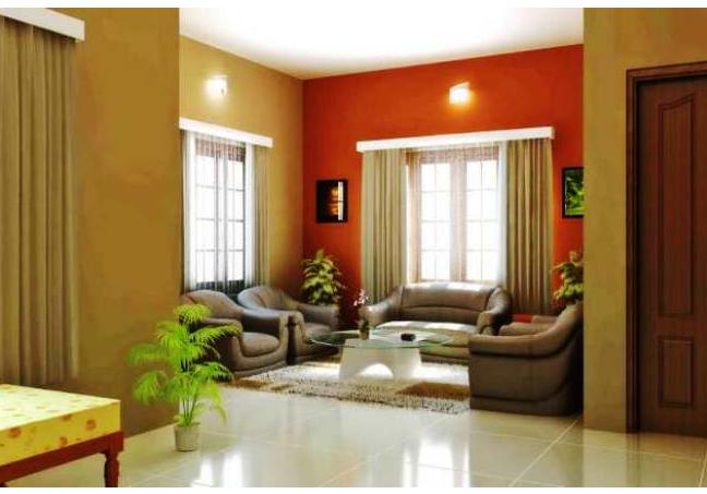 kombinasi warna cat ruang tamu kecil rumah minimalis