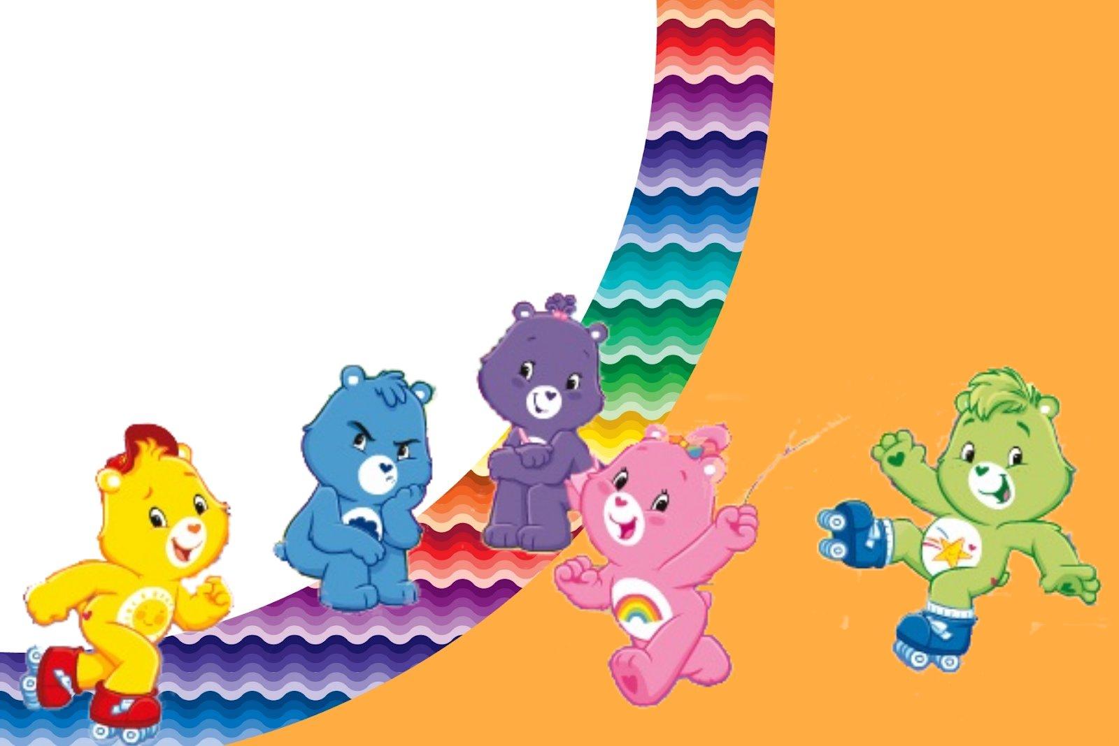 care bears with rainbow   free printable invitations