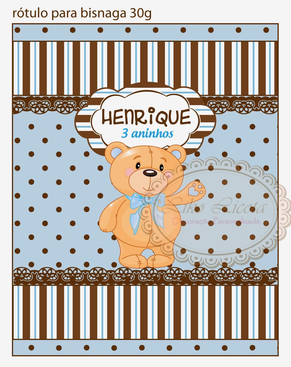 adesivos personalizados ursinho azul com poa marrom