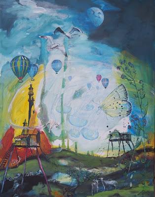 Moderne kunst, maaleri, abstrakt, Mols Bjerge, art, painting, acryl, lærred, måger, ekspressiv, luftbalon, sommerfugl, Ayoe Lise Lysgaard Pløger