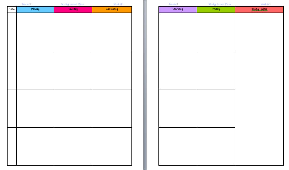 Free Printable Weekly Lesson Plan Template Pasoevolistco - Free printable lesson plan templates