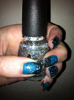 Nailart glitter on stamping