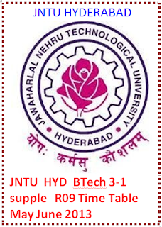 JntuH Btech 3-1 supple R09 Supple Time Table May June 2013