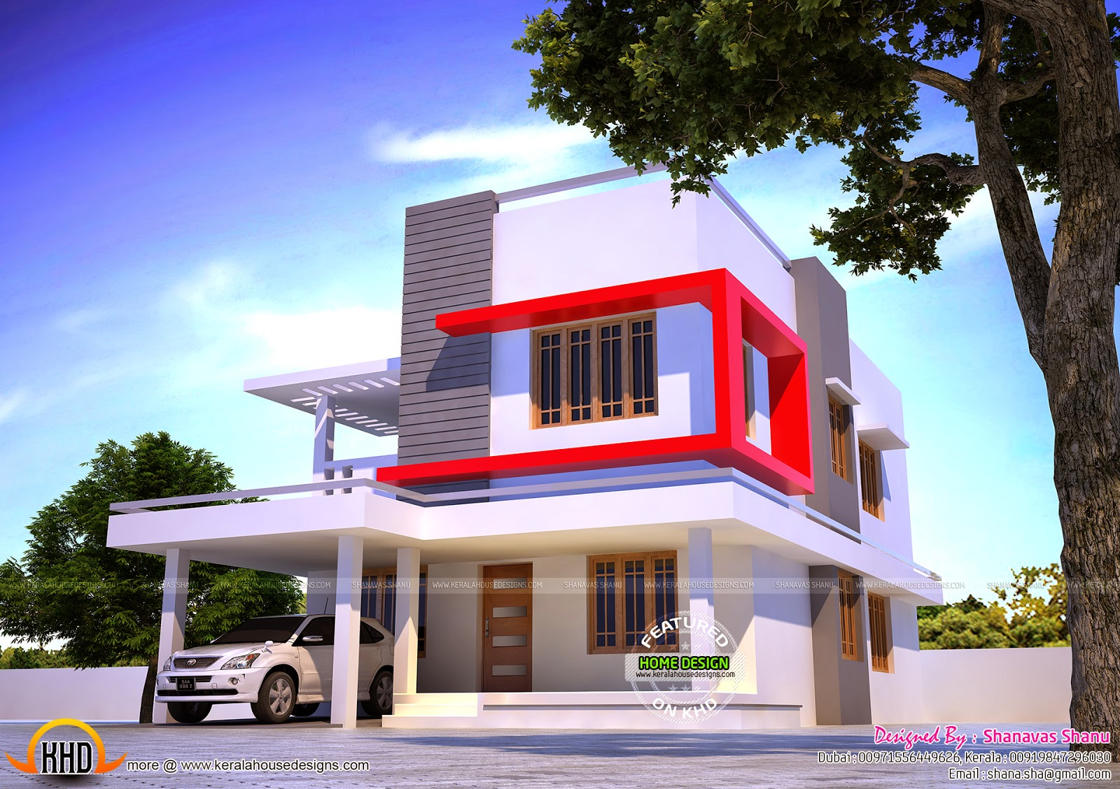 Modern villa in 1960 sq ft Kerala home design and floor plans