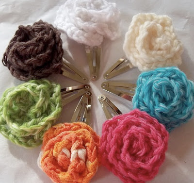 free crochet pattern flower hair clips