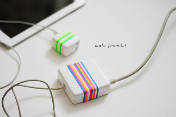 Refresh your mac chargers using colorful plastibands - no more washi tape!
