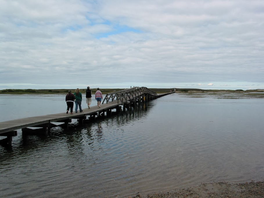 boardwalk across a river with people walking to the beach