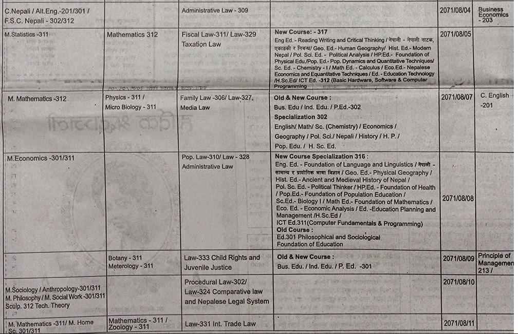 Examination Schedule 5 years BALLB First year 2071