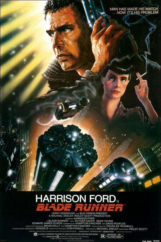 Cartel de 'Blade Runner' (1982) de Ridley Scott, con Harrison Ford. Making Of blog de cine