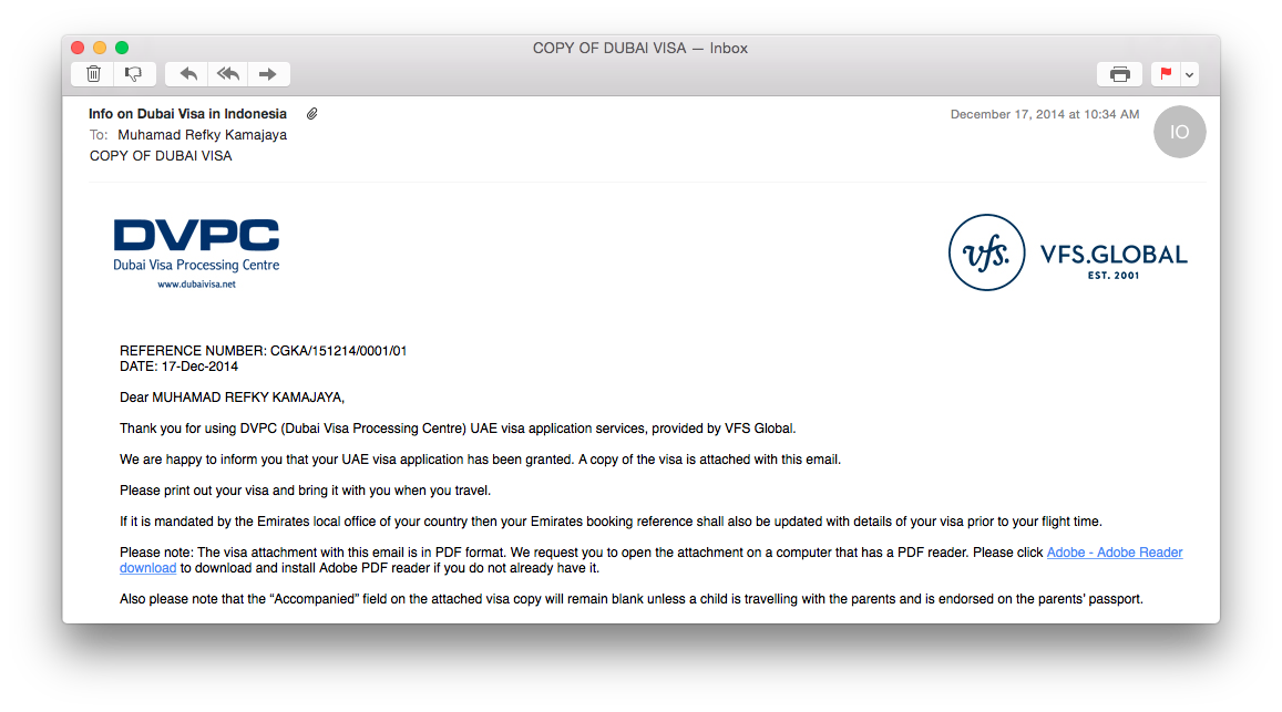 email from Dubai Visa Processing Center DVPC visa granted