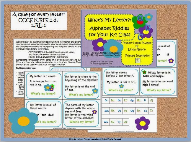 http://www.teacherspayteachers.com/Product/Inference-Key-Details-and-Letter-Knowledge-Alphabet-Riddles-347262