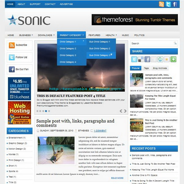 Sonic Blogger Template