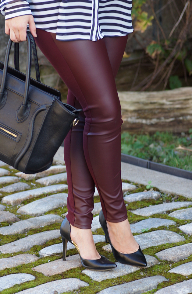 Happy Medley: Burgundy Leather Leggings