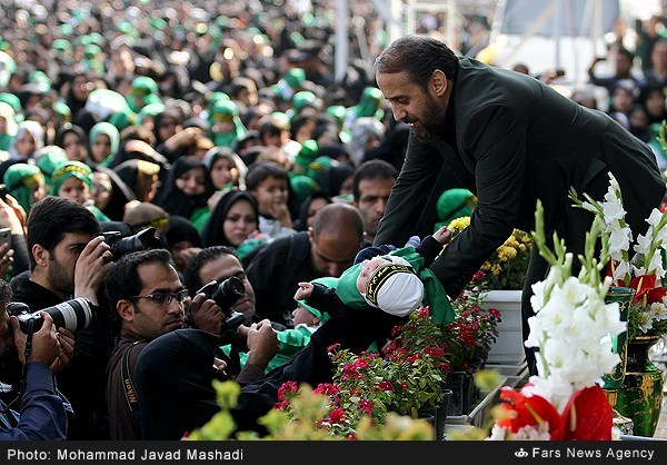 Commemoration Anniversary of 6 Month Old Child, Nation of Iran (Shiites Muslims) remembering the martyrdom of six month old kid , Ali Asghar, of Imam Hussein a.s, all Muslims take part in mourning ceremonies to remember the martyrdom of Ali Asgher at Karbala battle 1400 years ago. These ceremonies are arranged by Muslims in many cities of Iran at different levels, below images are taken in ceremonies held in Tehran,
