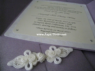chinese purple oriental knot wedding invitation