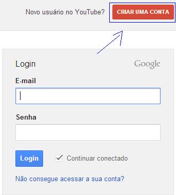 Criar nova conta no Google